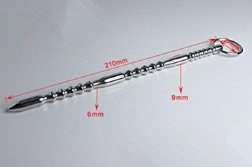 Extra lang 210 mm Penis Plug Dilator mit flexiblem Ring - Einführtiefe - Prinzenzepter -Harnröhren Plug mit Kugeln - Bondage BDSM CBT SM -