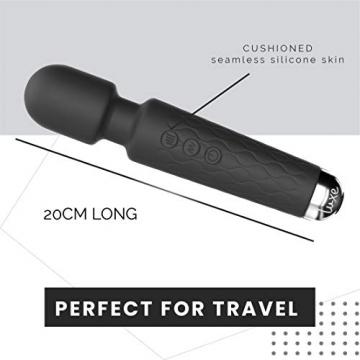 Luxe Products Massage Wand Massagestab kabelloser elektrisch - 20 Verschiedene Vibrationsarten 8 Geschwindigkeiten - inkl. Reisetasche (SCHWARZ) - 4